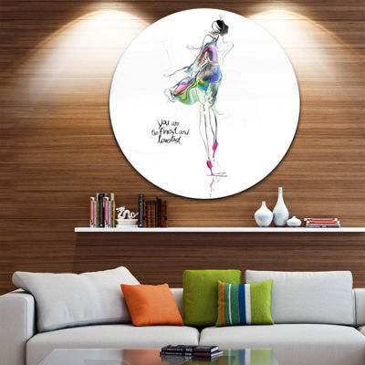Design Art Young Woman Green Purple Abstract Portrait Circle Metal Wall Art