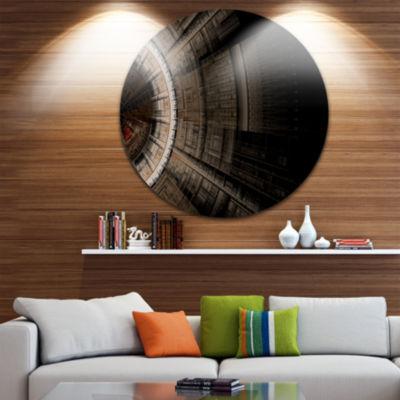 Design Art Symmetrical Solar Blue Fractal Art DiscLarge Contemporary Circle Metal Wall Arts