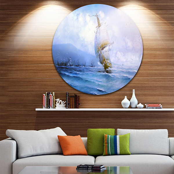 Design Art Vessel in Blue Sea Disc Seascape CircleMetal Wall Art