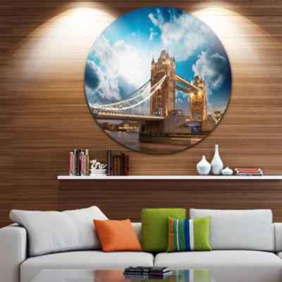 Design Art Sunset Over Tower Bridge Cityscape Photo Circle Metal Wall Art