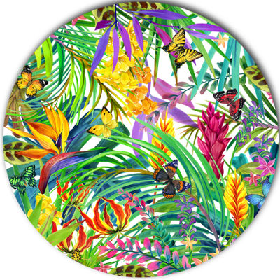 Design Art Tropical Leaves and Flowers Floral Metal Circle Wall Art