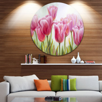 Design Art Tulips in a Row Floral Circle Metal Wall Art
