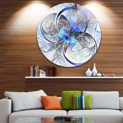 Design Art Symmetrical Blue Fractal Flower Disc Large Contemporary Circle Metal Wall Arts