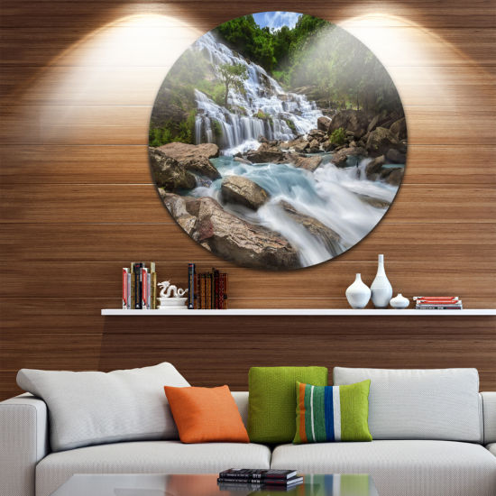 Design Art White Mae Ya Waterfall Landscape Disc Photography Circle Metal Wall Art