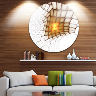 Design Art Yellow Flames on White Blocks AbstractArt on Round Circle Metal Wall Decor Panel