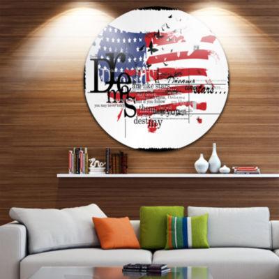 Design Art Vintage Fashion USA Flag Disc Map Circle Metal Wall Art