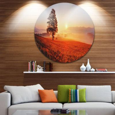Design Art Tree and Sun Landscape Photography Circle Metal Wall Art