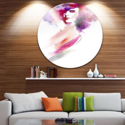 Design Art Woman with Colors Disc Portrait CircleMetal Wall Art
