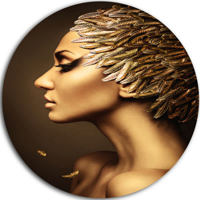 Design Art Woman with Gold Feather Hat Disc Contemporary Circle Metal Wall Art