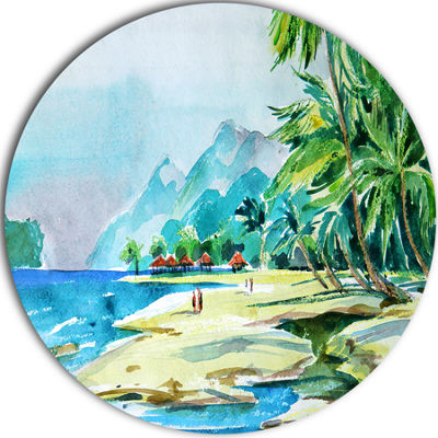 Design Art View from Shore Landscape Circle MetalWall Art