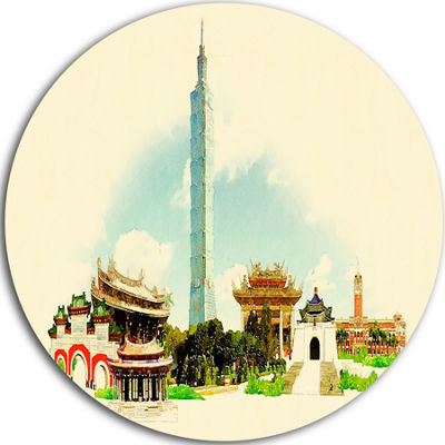 Design Art Taipei Panoramic View Disc Cityscape Watercolor Circle Metal Wall Art