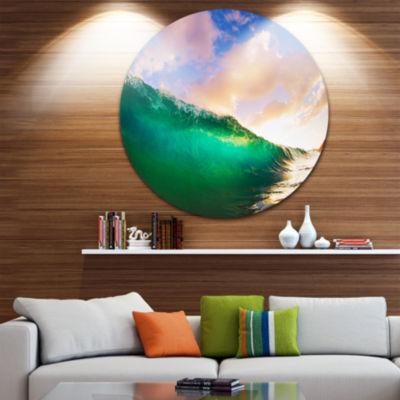 Design Art Waves under Cloudy Sky Disc Seascape Circle Metal Wall Art