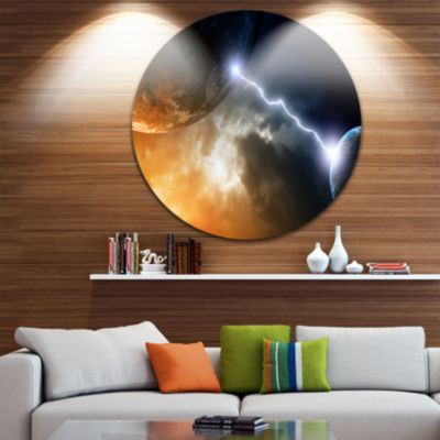 Design Art Two Planets in Space Spacescape CircleMetal Wall Art