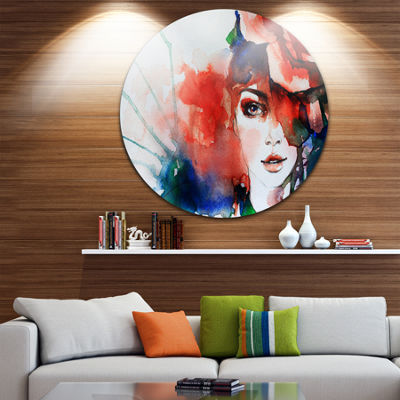Design Art Woman with Rose Illustration Abstract Metal Artwork