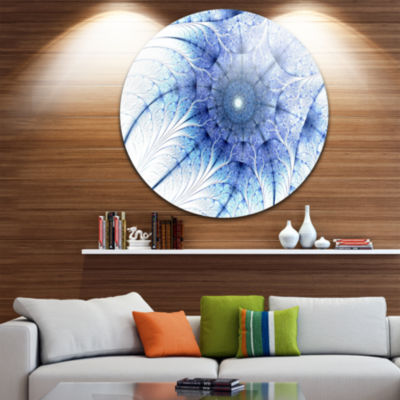 Design Art Symmetrical Blue Fractal Flower on White Disc Abstract Circle Metal Wall Art