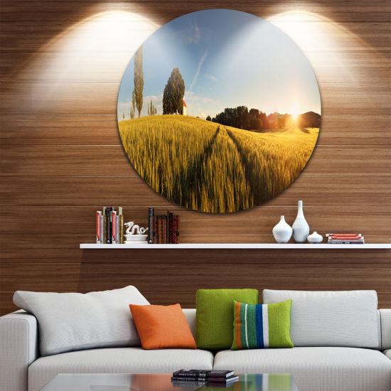 Design Art Sunset Over Wheat Field in Slovakia Disc Photography Circle Metal Wall Art
