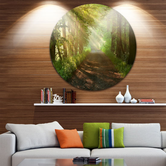 Design Art Suns Peeks into Forest Landscape Photography Circle Metal Wall Art
