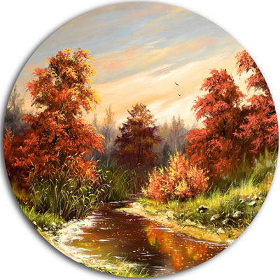 Design Art The Red River Landscape Circle Metal Wall Art