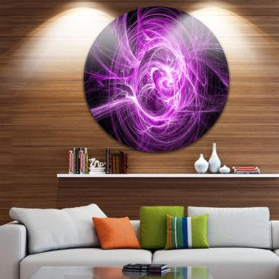 Design Art Wisps of Smoke Purple in Black AbstractCircle Metal Wall Art