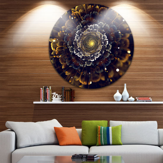 Design Art Yellow Fractal Flowers with Violet DiscLarge Contemporary Circle Metal Wall Arts