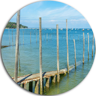 Design Art Wooden Piers by Blue Sea Seascape Circle Metal Wall Art