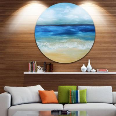 Design Art Warm Tropical Sea and Beach Disc Seascape Circle Metal Wall Art