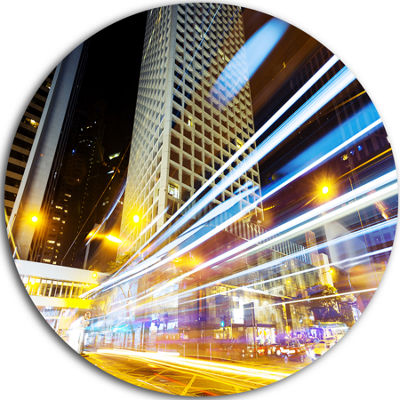 Design Art Urban City Traffic Trails Cityscape Contemporary Circle Circle Metal Wall Art