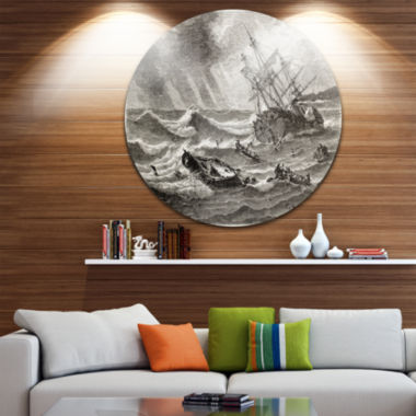 Design Art Vintage Shipwreck Seascape Circle MetalWall Art