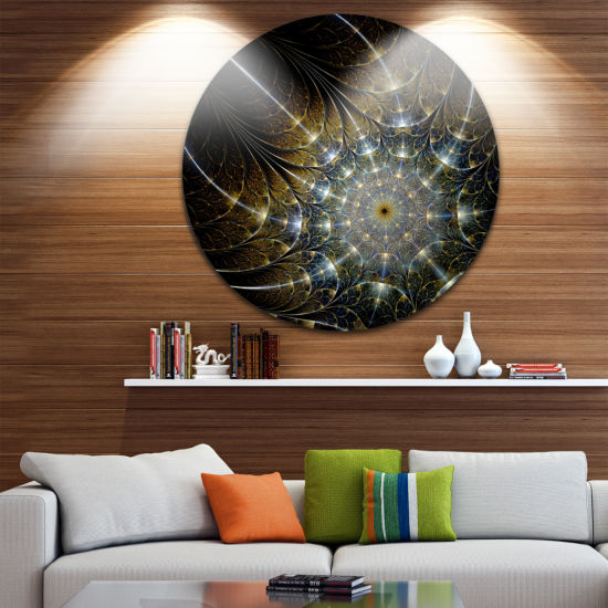 Design Art Symmetrical Brown Fractal Flower Disc Large Contemporary Circle Metal Wall Arts