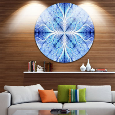 Design Art Symmetrical Light Blue Pattern Disc Floral Circle Metal Wall Art