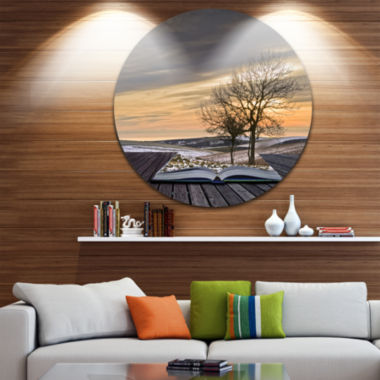 Design Art Winter Coming out of Pages Disc Contemporary Circle Metal Wall Art
