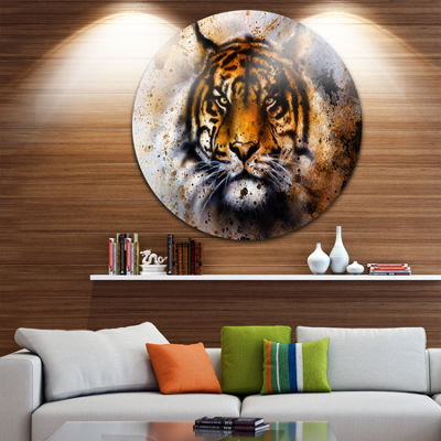 Design Art Tiger Collage with Rust Design Disc Animal Circle Metal Wall Art