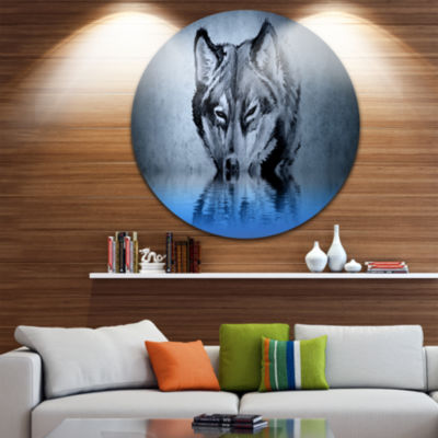 Design Art Wolf Head with Water Reflections TattooLarge Contemporary Circle Metal Wall Arts