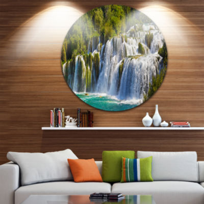 Design Art Waterfall KRKA Panorama Landscape Photography Circle Metal Wall Art