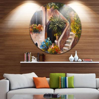 Design Art Summer Terrace Landscape Circle Metal Wall Art