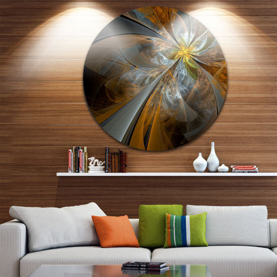 Design Art Symmetrical Yellow Fractal Flower DiscLarge Contemporary Circle Metal Wall Arts