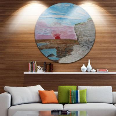 Design Art Sunset Seashore Disc Seascape Circle Metal Wall Art