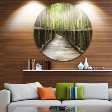 Design Art Wooden Bridge in Forest Disc LandscapePhotography Circle Metal Wall Art