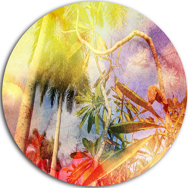 Design Art Yellow Retro Palm Trees Landscape Painting Circle Metal Wall Art