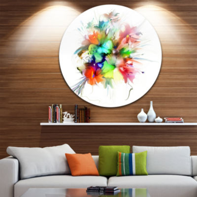 Design Art Summer Flowers in Different Colors DiscFloral Circle Metal Wall Art