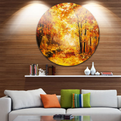 Design Art Yellow Autumn Forest Landscape Circle Metal Wall Art