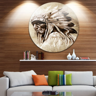 Design Art Vintage Style Indian Head Tattoo LargeContemporary Circle Metal Wall Arts