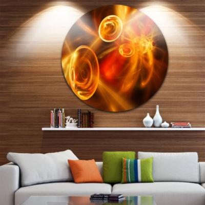 Design Art Yellow Fractal Desktop Disc Abstract Circle Metal Wall Art