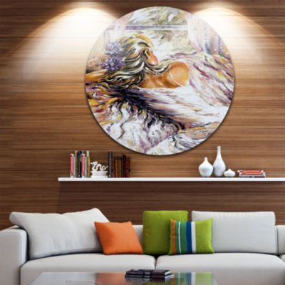 Design Art The River over the Girl Abstract CircleMetal Wall Art
