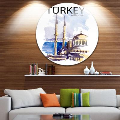 Design Art Turkey Vector Illustration Cityscape Circle Metal Wall Art