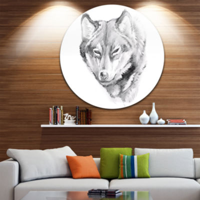 Design Art Wolf Tattoo Art Animal Circle Metal Wall Art