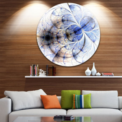 Design Art Symmetrical Gold Blue Fractal Flower Disc Floral Circle Metal Wall Art