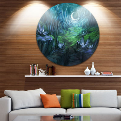 Design Art Twilight Valley Landscape Disc AbstractCircle Metal Wall Art