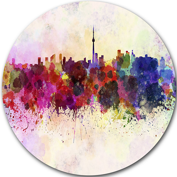 Design Art Toronto Skyline Disc Cityscape Metal Artwork Print