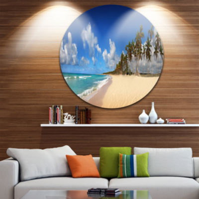 Design Art Tropical Exotic Beach Disc Landscape Photography Circle Metal Wall Art